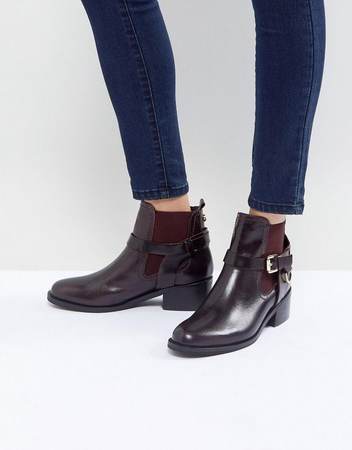f86bc55fbe3 Carvela Saddle Leather Buckle Flat Ankle Boots | Products | Leather ...