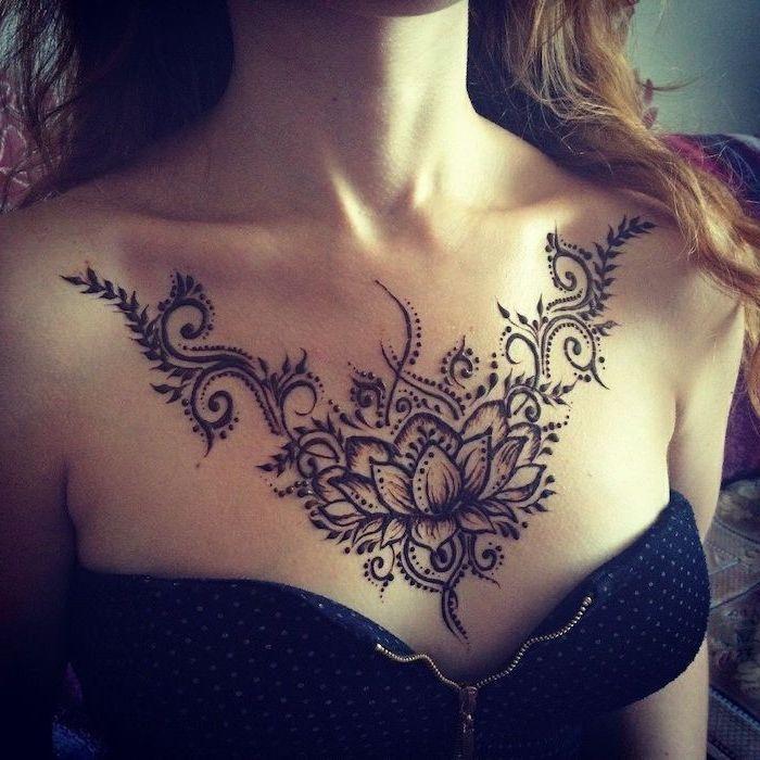 Black Top Zipper Blonde Hair Small Chest Tattoos Lotus Flower Dots Fern In 2020 Henna Tattoo Designs Chest Tattoos For Women Belly Tattoos
