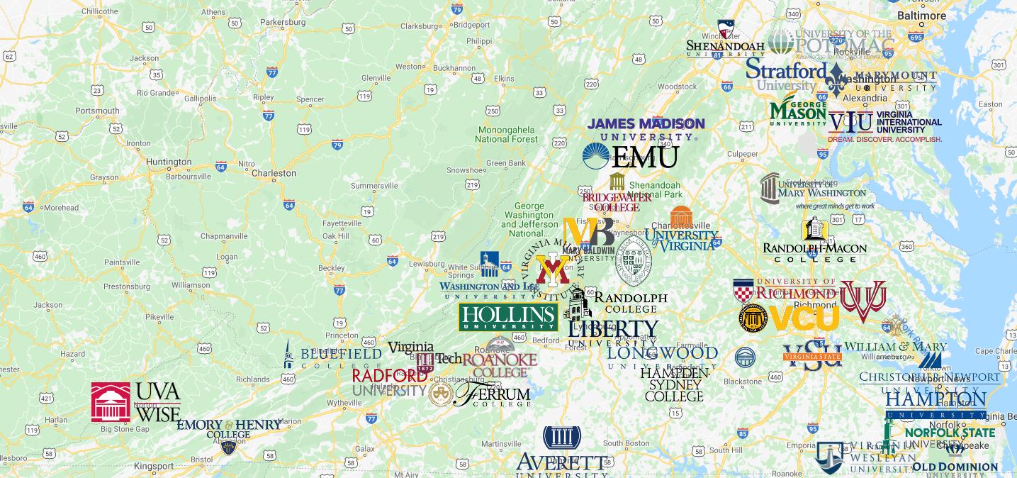 Colleges In Virginia Map Colleges in Virginia Map | Virginia map, Map, College