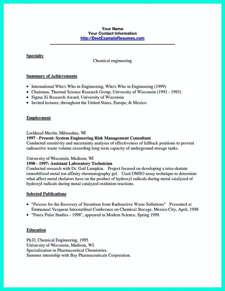 Nice Successful Objectives In Chemical Engineering Resume Check More At Http Snefci Org Successful Objectives In Chemical Engineering Resume