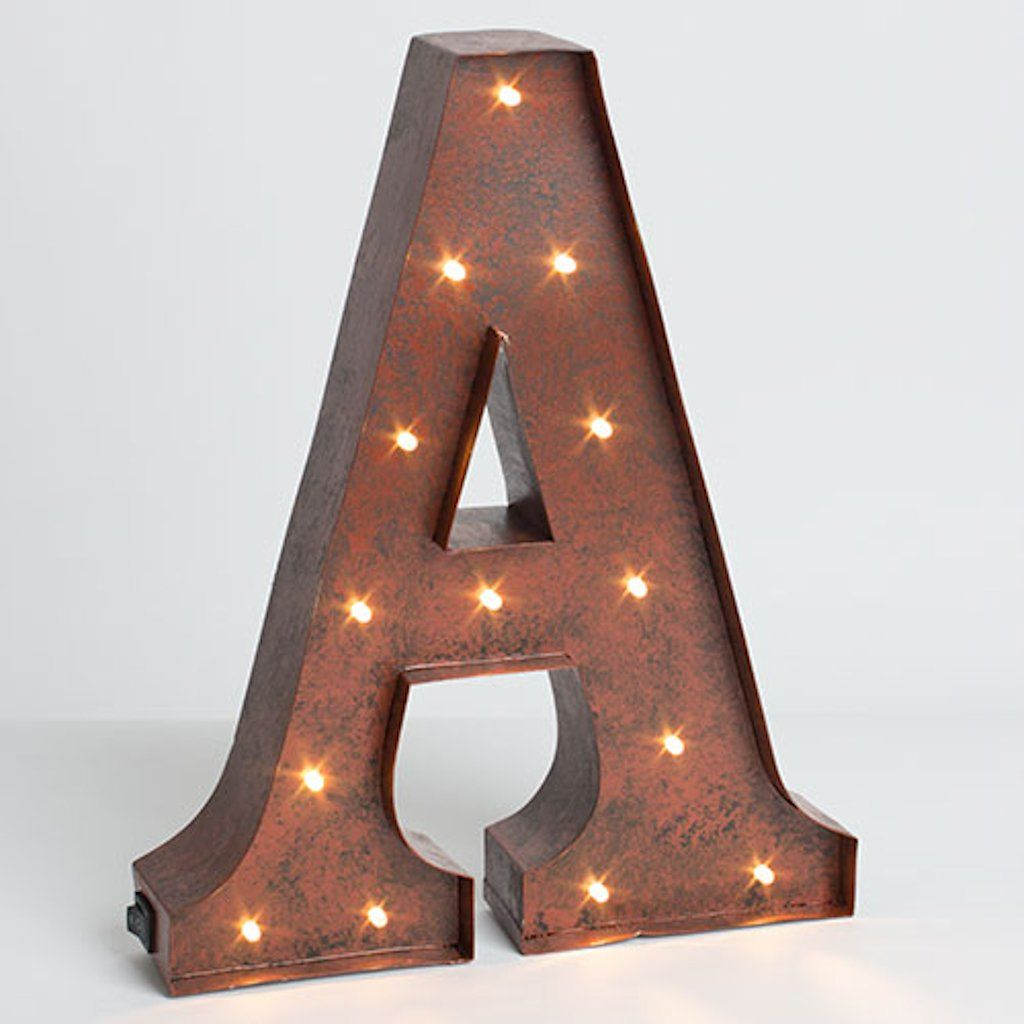 """Lighted Wall Letters 12""""  Rustic Brown  Metal  Battery Operated  Led  Lighted"""