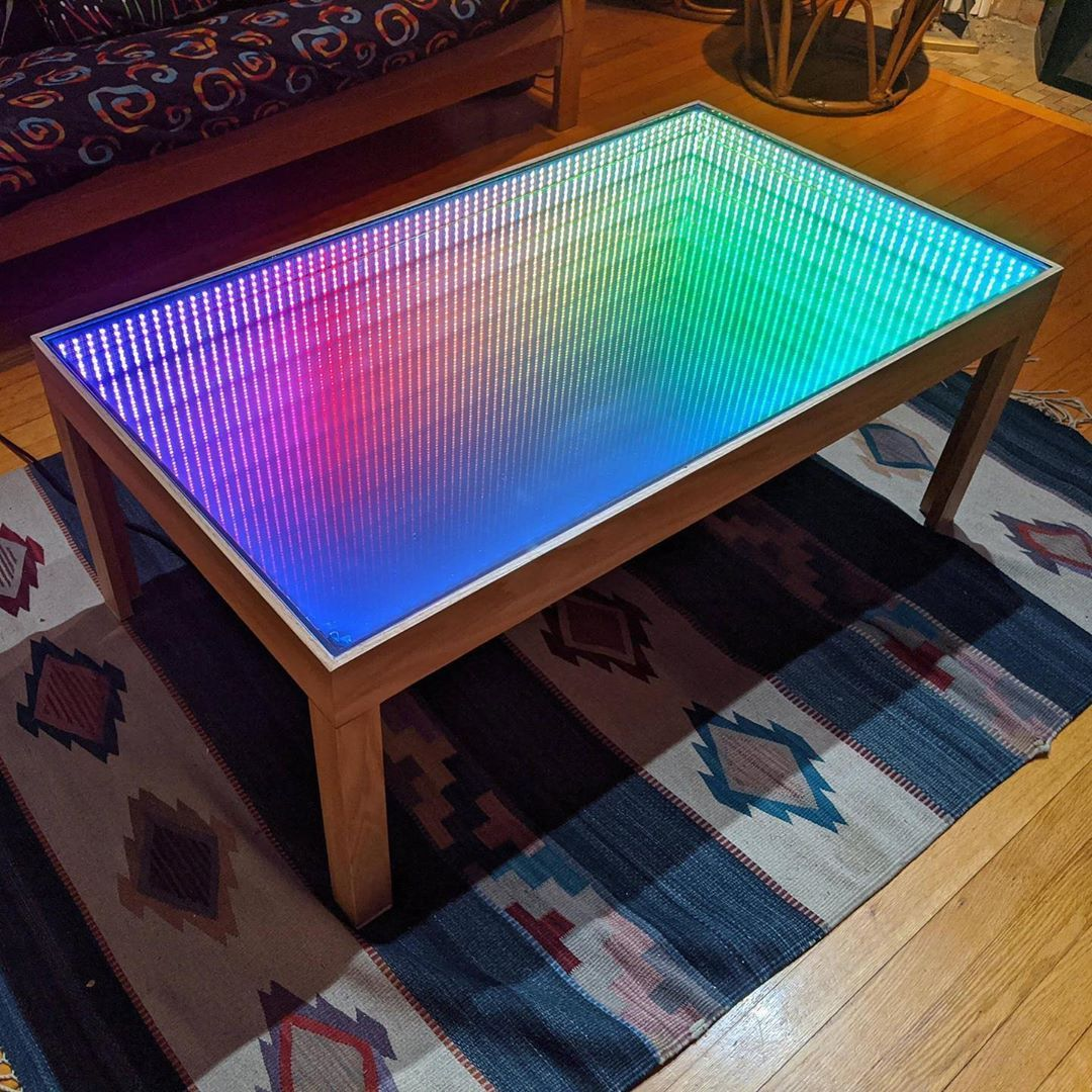 Arduino Mega And A Mere 600 Leds This Piece Of Furniture Can Be Truly Mesmerizing Fol Mirrored Coffee Tables Unique Table Design Cool Stuff [ 1080 x 1080 Pixel ]