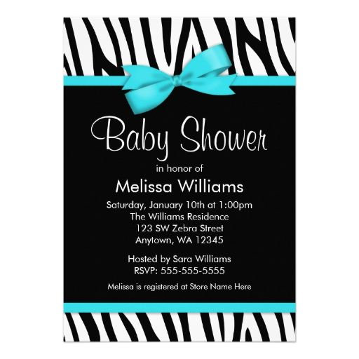 Zebra Teal Blue Printed Bow Baby Shower Invitations
