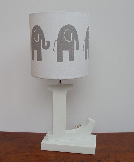 Small Handmade Elephant Drum Lamp Shade White With Grey Elephants Great For Nursery Or Kids Room