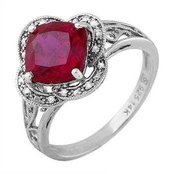 14K Rose Gold and 925 Silver Created Ruby and Diamond Ring, Retail $170 http://www.propertyroom.com/l/l/9638005