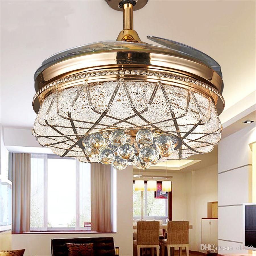 2019 Modern Alloy Crystal Led Ceiling Fan Light Invisible Led Light Electric Fan Chandelier Retract Ceiling Fan Led Ceiling Fan Bladeless Ceiling Fan