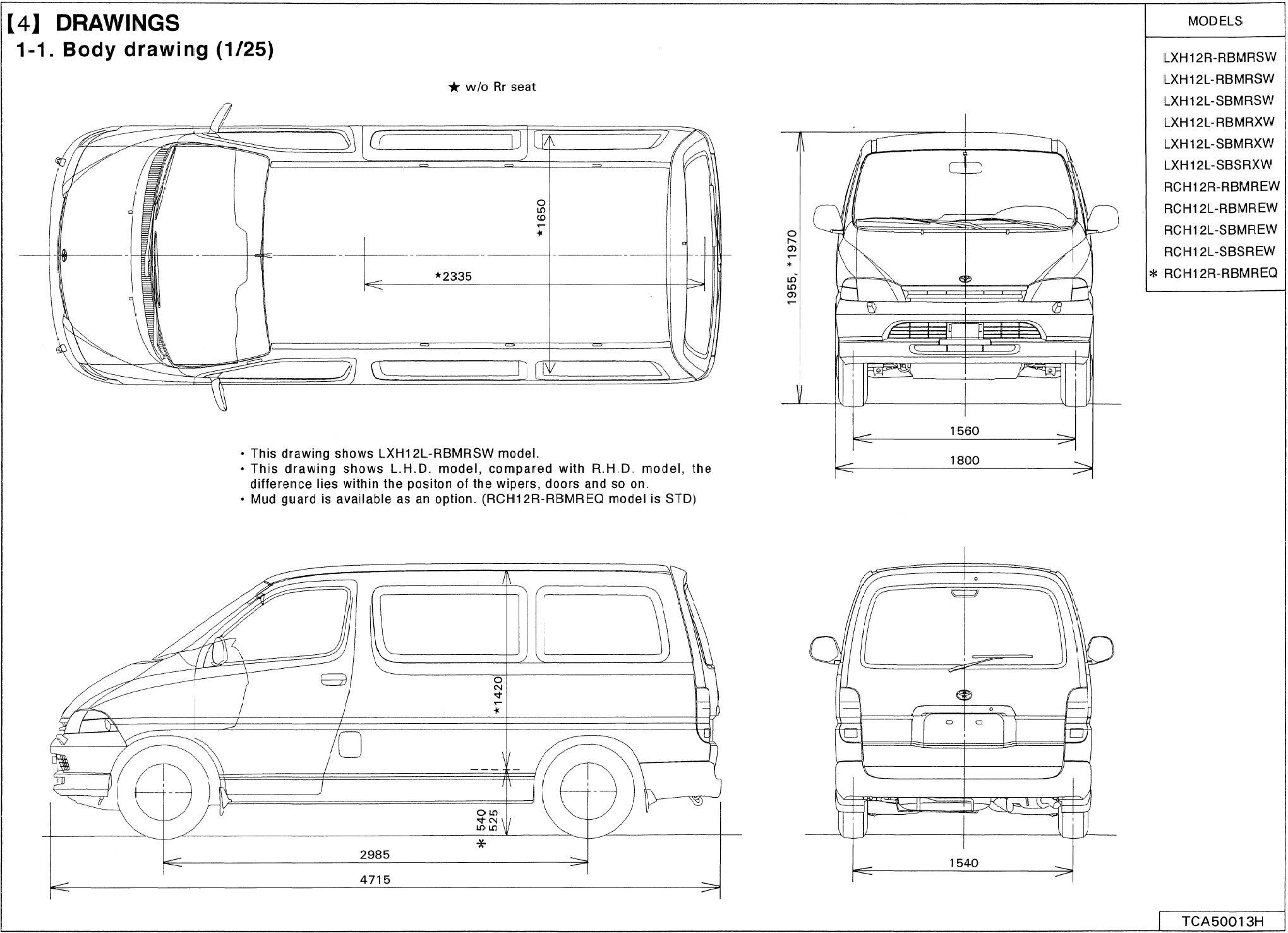 Toyota Hiace Blueprint Toyota Hiace Toyota Toyota Van