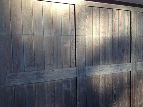 Semi transparent stain on a wood garage door in flagstaff for Wood stained garage doors