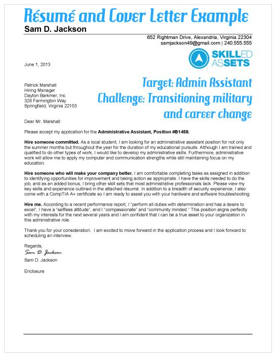 Great example! Transitioning military resume and cover letter - career change resume template