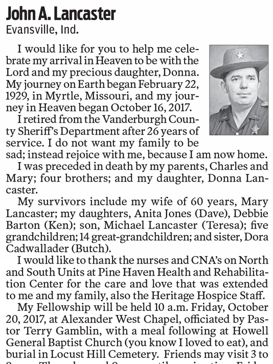 Evansville man writes his own obituary Evansville