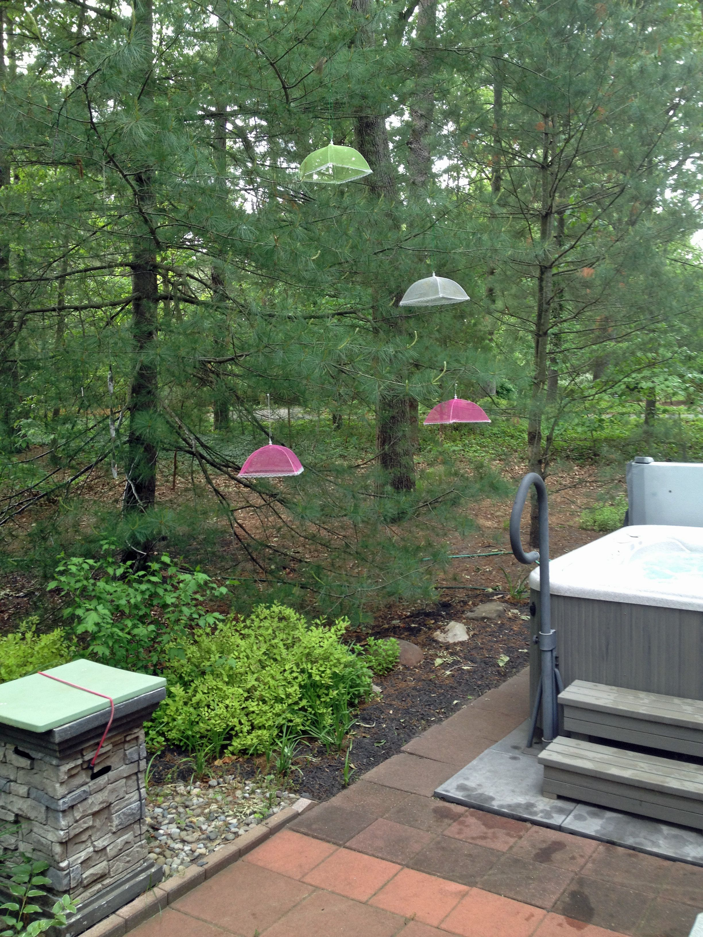 Garden decorations - Add some inexpensive, colorful mesh food covers ...