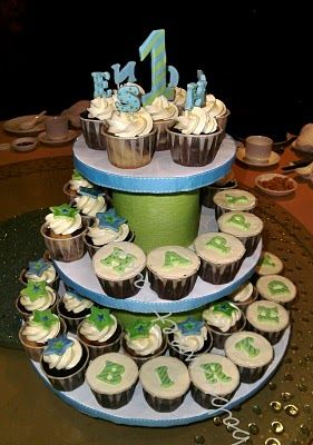 Birthday Cupcake Tiers For 1 Year Old Boy