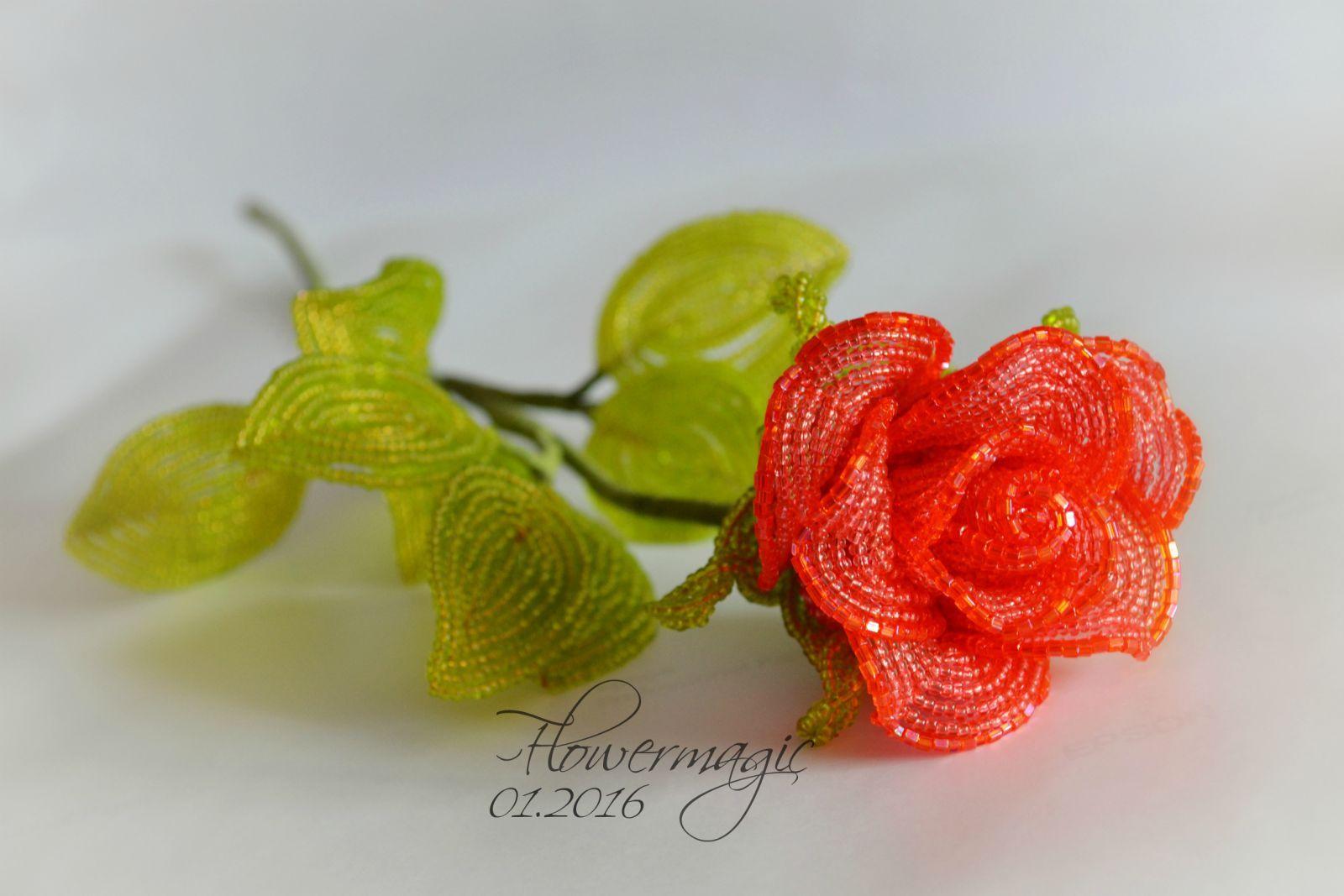Коралловая роза | biser.info - всё о бисере и бисерном творчестве