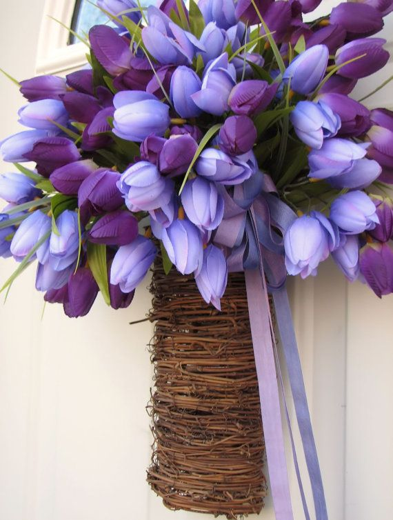 Lovely Lilac And Purple Tulips In A Woven Basket For Any Room Or Front Door Easter Spring On Etsy 45 00 Purple Tulips Tulips Flowers Spring Flowers