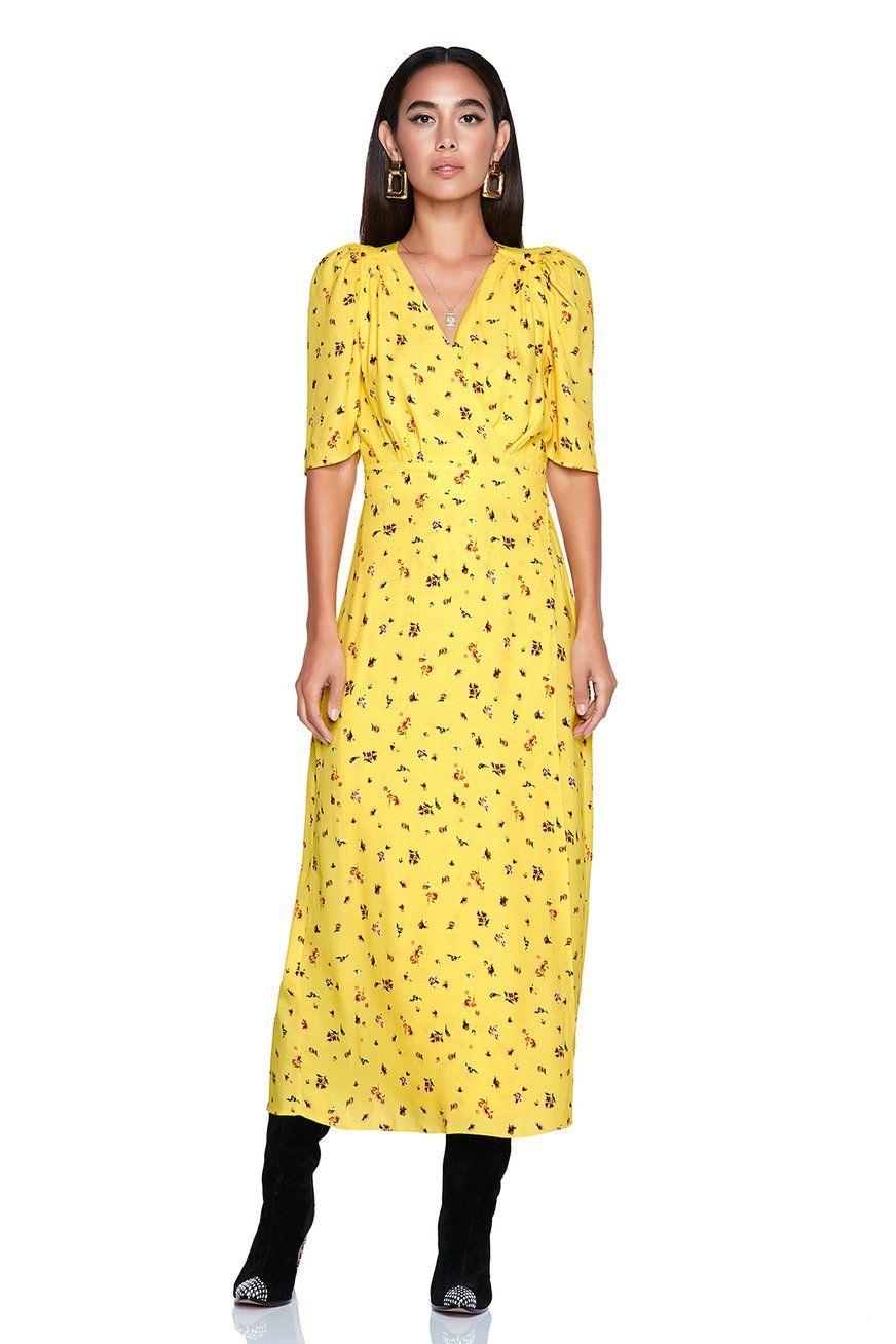 Amal midi length wrap dress with waist tie afrm
