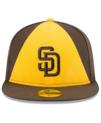 New Era Kids  San Diego Padres Authentic Collection 59FIFTY Cap -  Brown Yellow 6 3 8 27e2afc8b6dc
