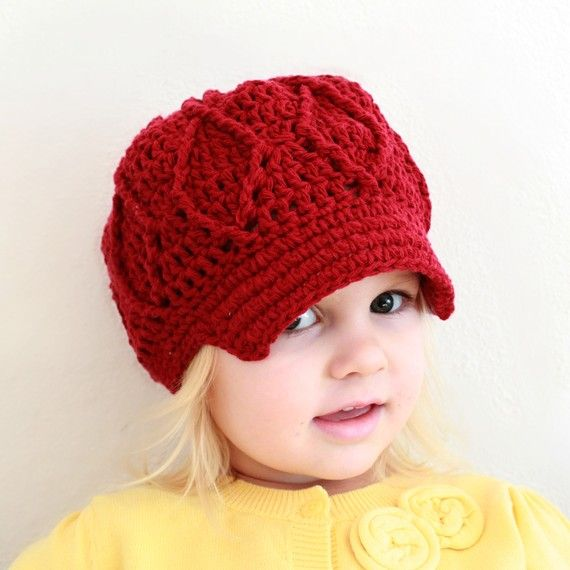 Crochet For Free: Maggie Newsboy Hat (two sizes: toddler/sm. child ...
