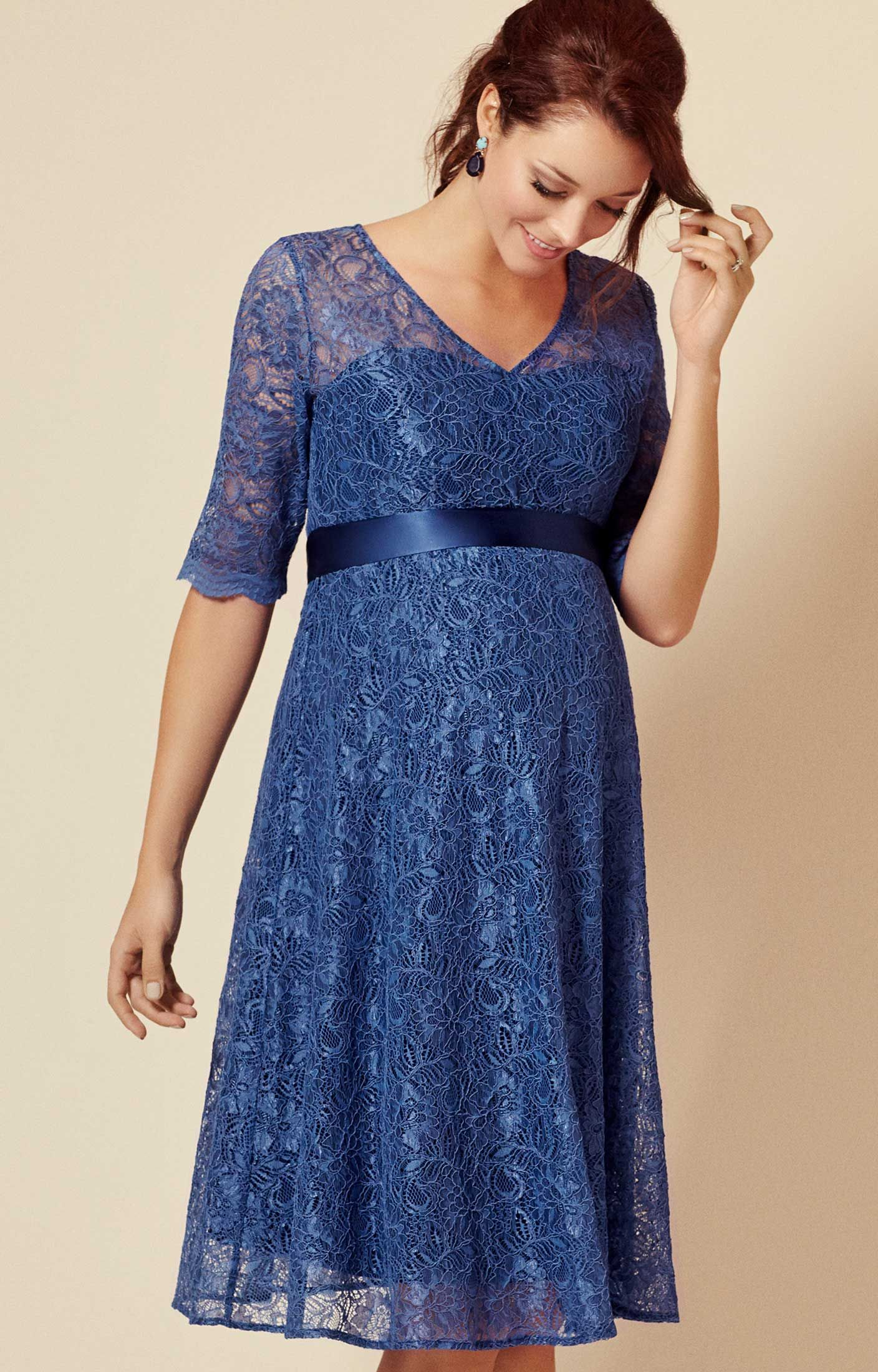 582e349e2239e The fun, floaty shape of our Flossie maternity party dress makes it perfect  for parties. Cut from premium corded blue floral lace and lined with  contrasting ...