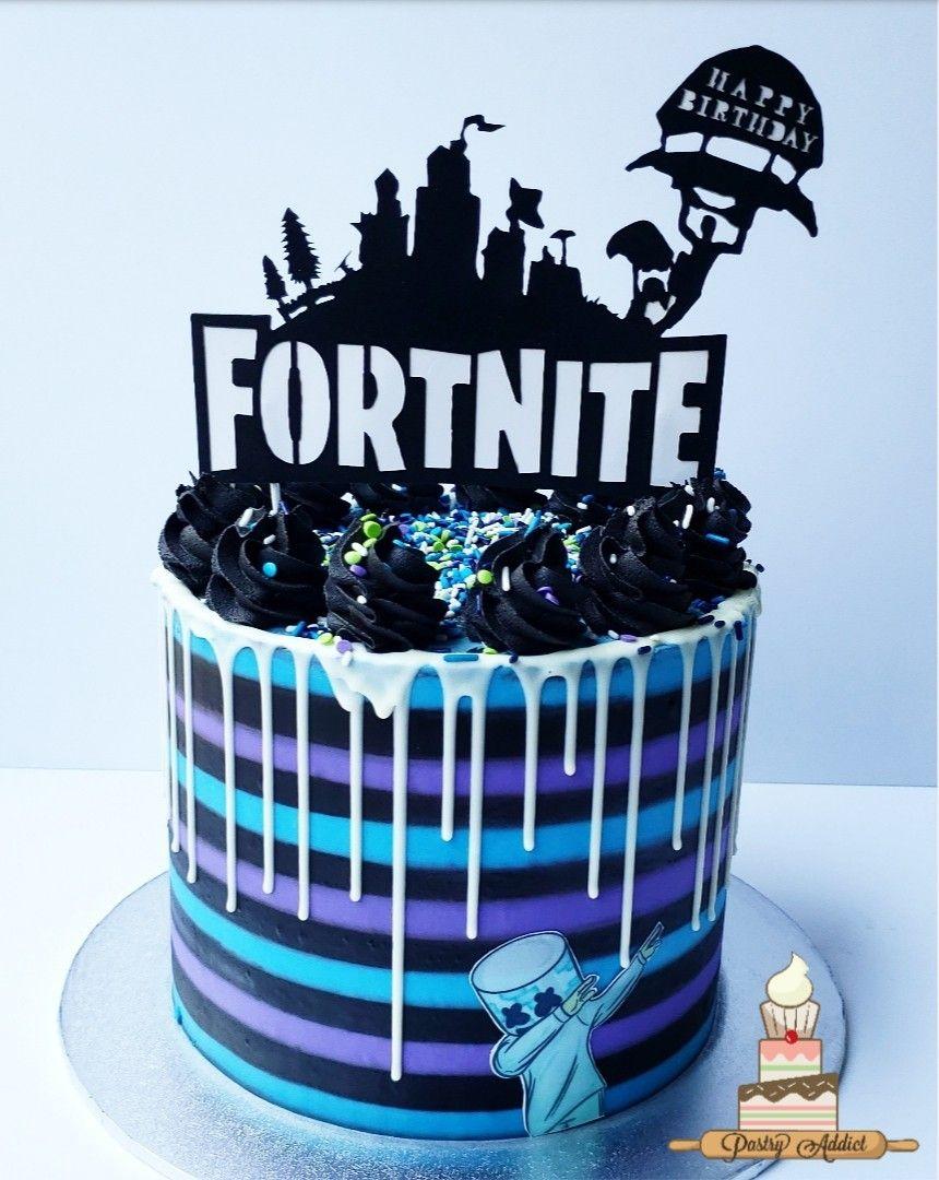 Fortnite cake Birthday drip cake, Birthday party cake