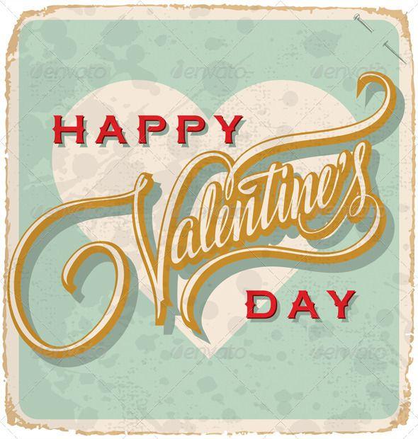 Hand Lettered Vintage Valentine Card (vector)
