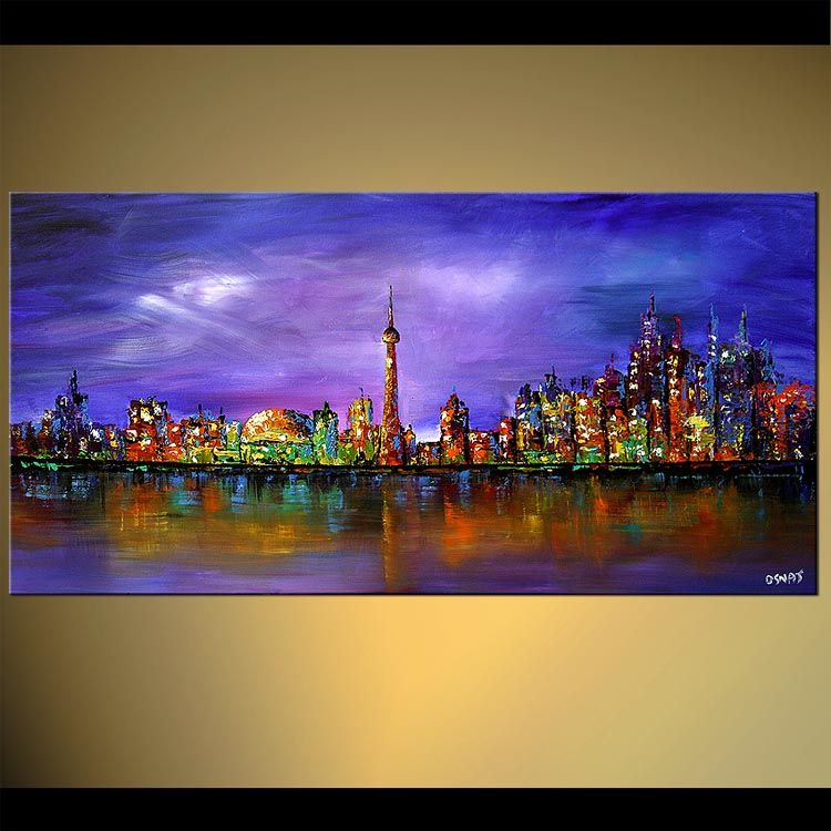 Original abstract art paintings by Osnat - toronto skyline ...
