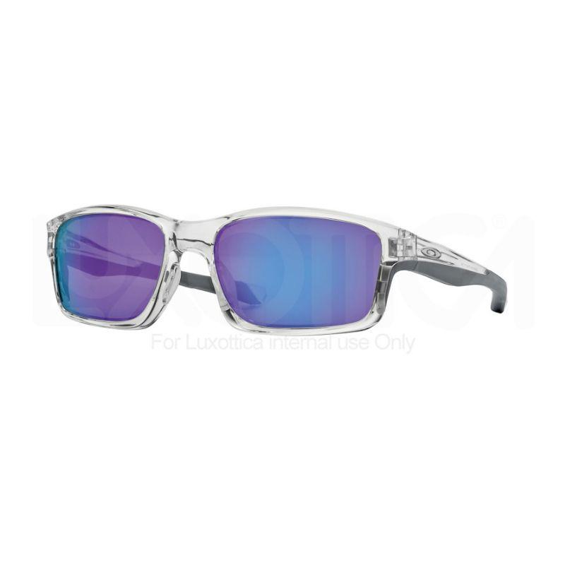 oakley montatura trasparente lenti blu