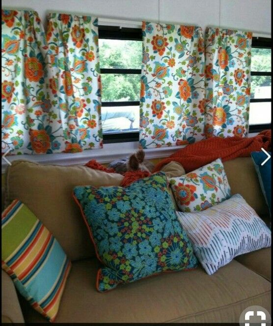 Curtains Made For Every Window In A Camper Remnants Were Used To Make Matching Throw Pillows