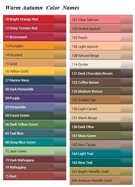Warm Autumn Color Names