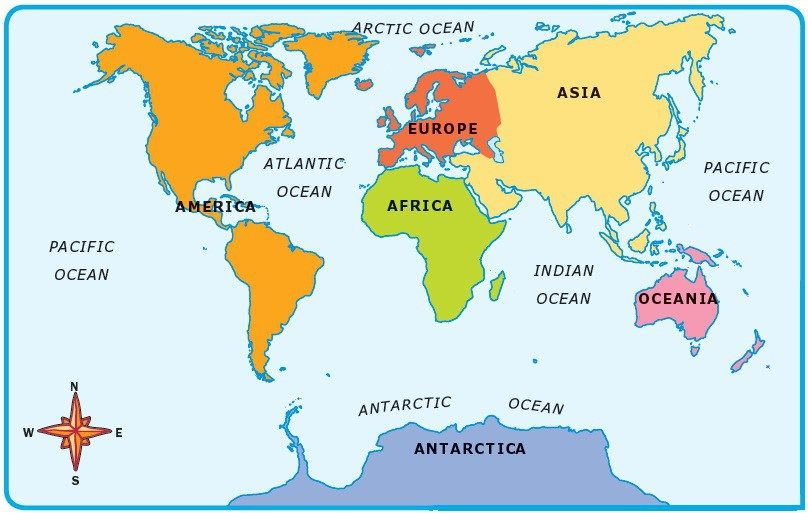 map of 5 continents 5 Oceans 7 Continents Ocean Continents World Map map of 5 continents
