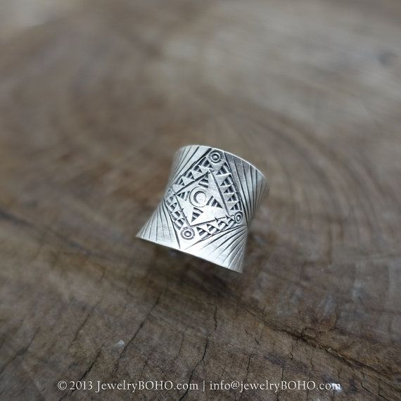 BOHO 925 Silver Ring-Gypsy Hippie Ring,Bohemian style,Statement Ring R139 JewelryBOHO,Handmade sterling silver BOHO Tribal printed ring
