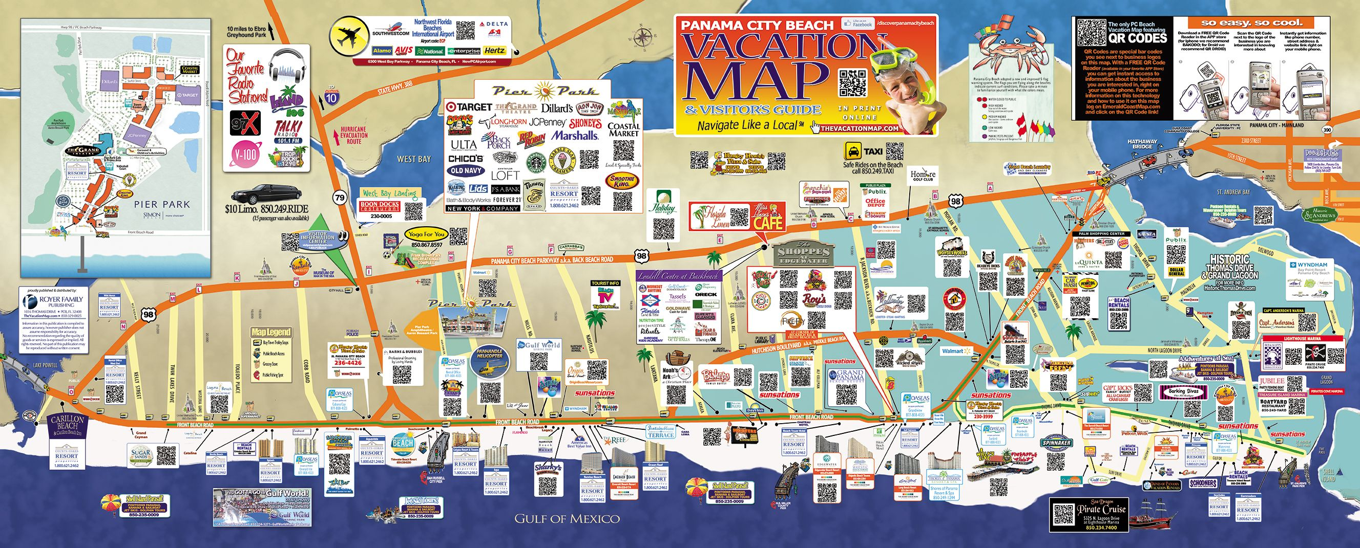 Find Some Of The Top Bars Hotels Restaurants And Attractions Pcb Map Panama City Beach Florida