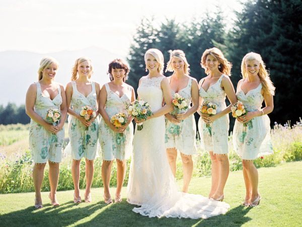 Romantic   Rustic Mountain Wedding | Print..., Floral bridesmaids ...