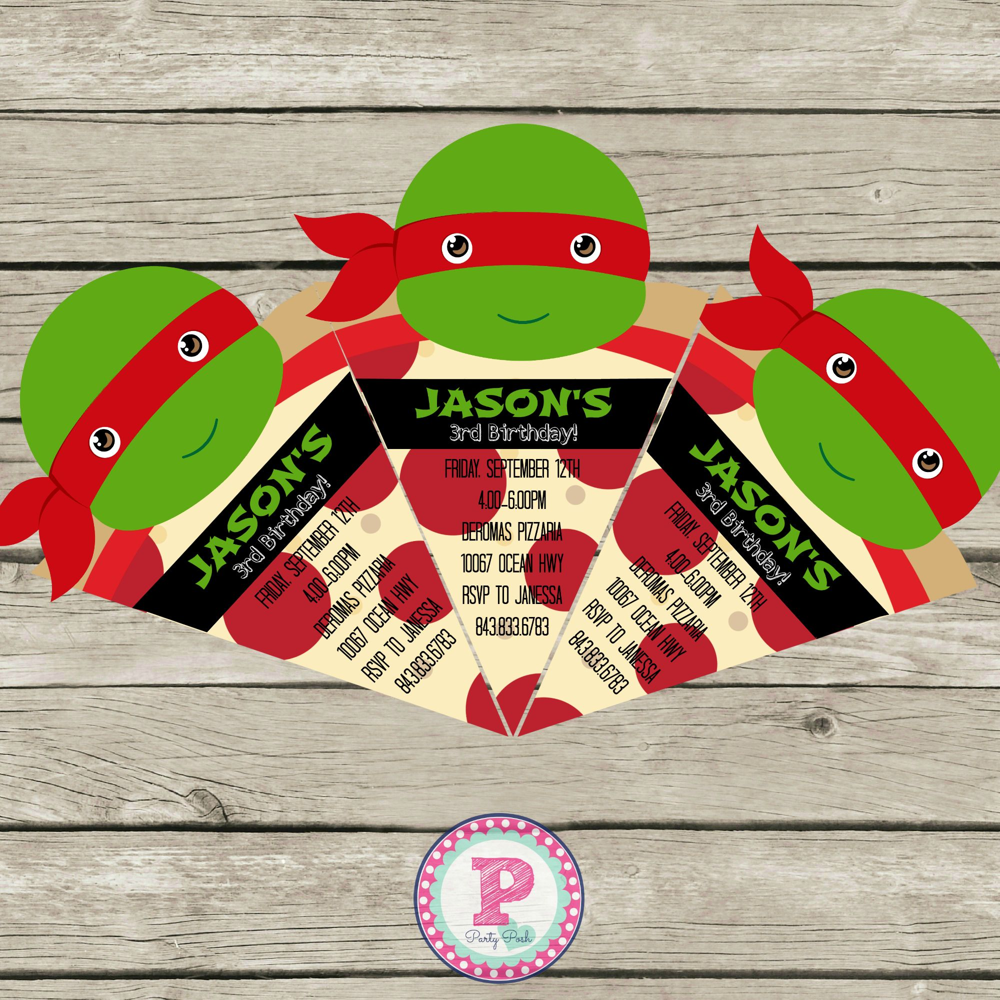 Ninja Turtle Birthday Party Ideas Pizza Invitation #Invitation ...