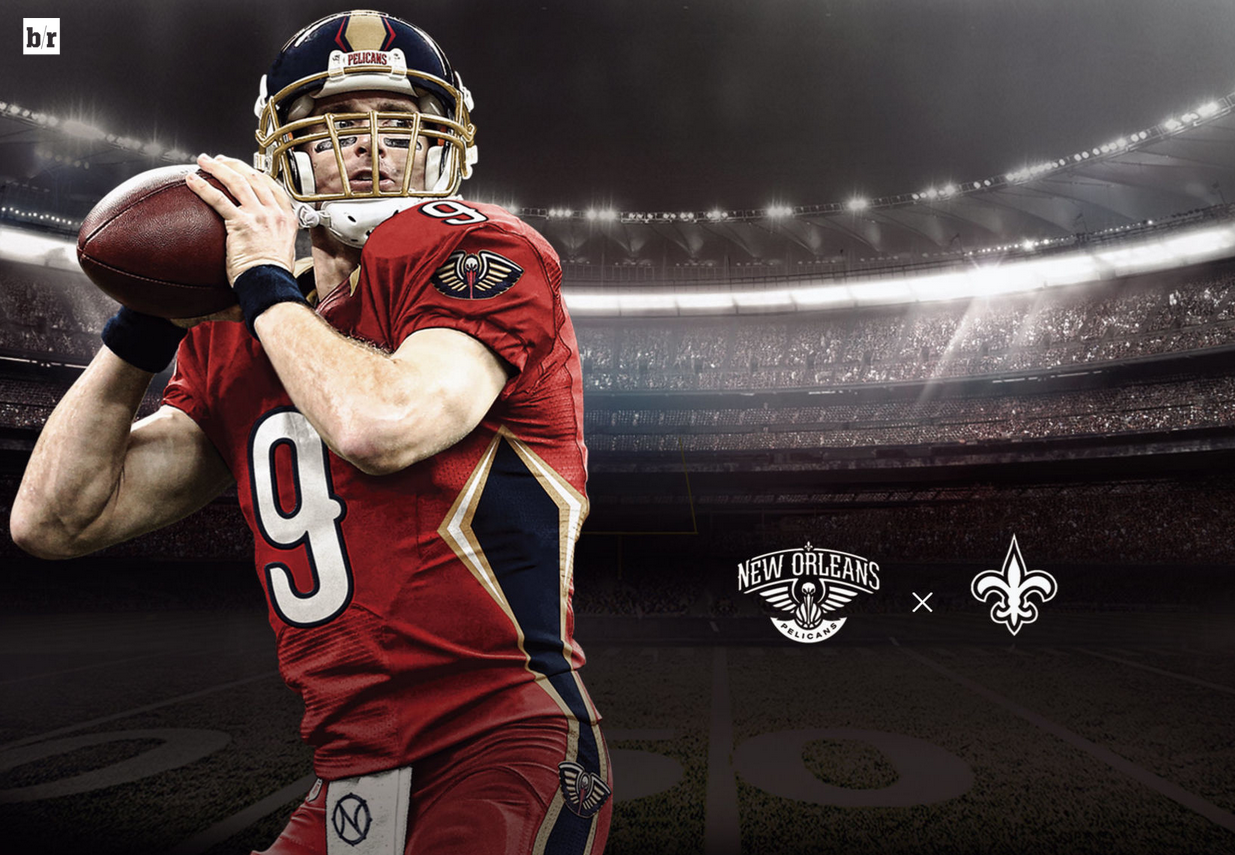 Pin By Danal On Nba Nfl Mash Up New Orleans Pelicans New Orleans Football Helmets