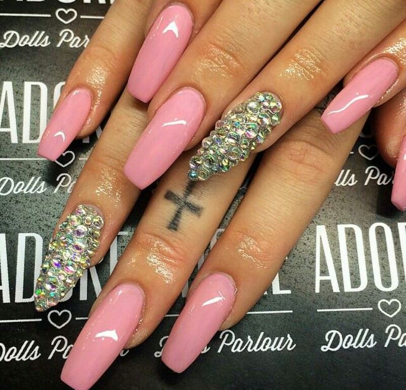 Pin by on pinterest pink coffin nails with bling prinsesfo Gallery
