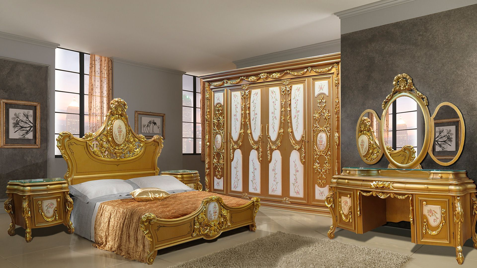 غرفة نوم كلاسيك Golden Oval Classic Bedroom Classic Furniture