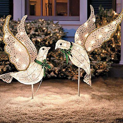 Set Of 2 Lighted Glitter Scrolled Peace Doves Clear White Lights Bird Decor Ch Unique Christmas Decorations Outdoor Christmas Decorations Outdoor Holiday Decor