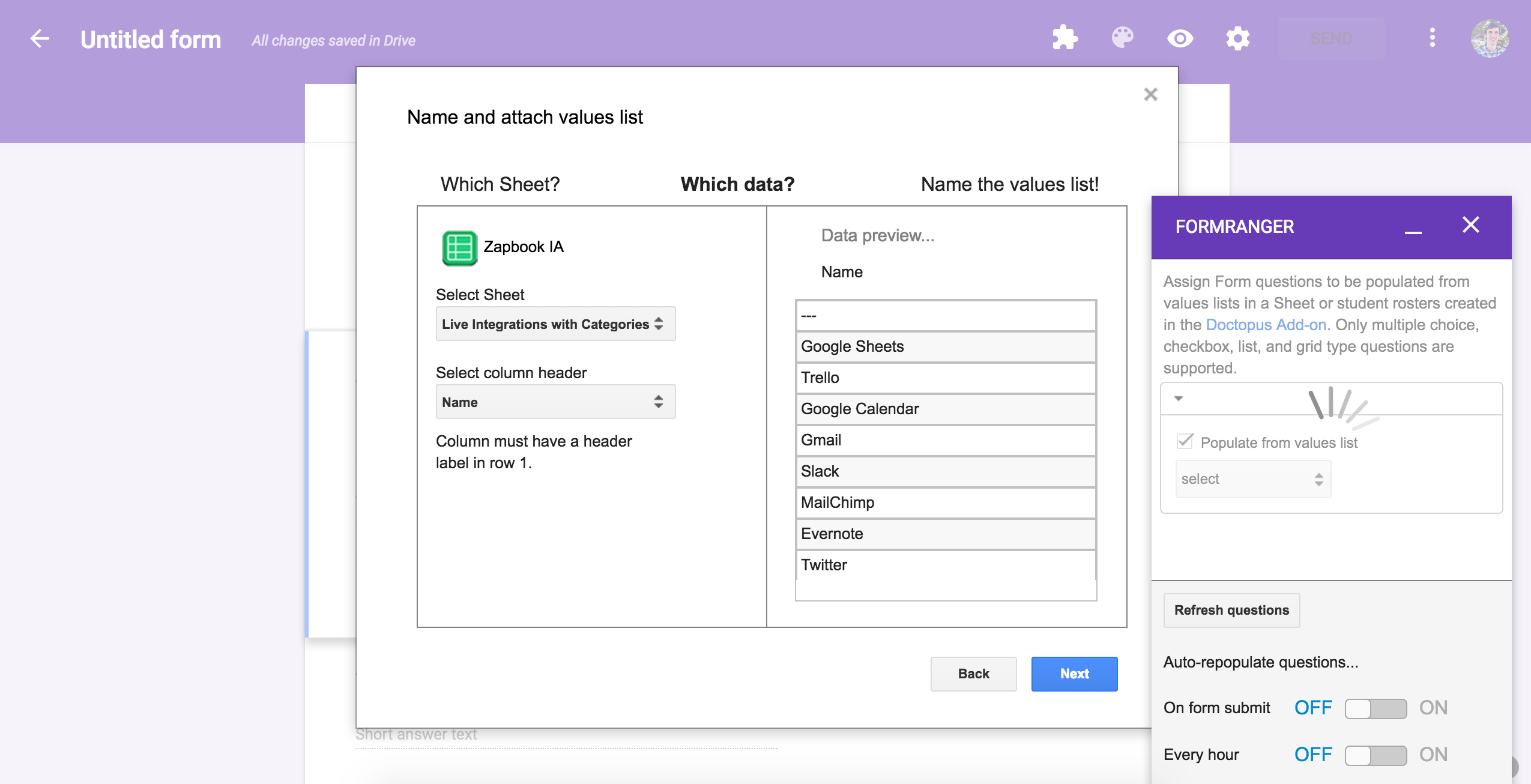 Google Forms add-on options