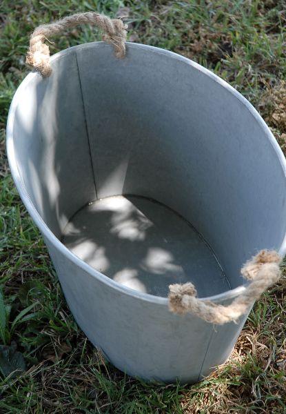Large 14x20 Oval Galvanized Metal Tub Rope Handles 32