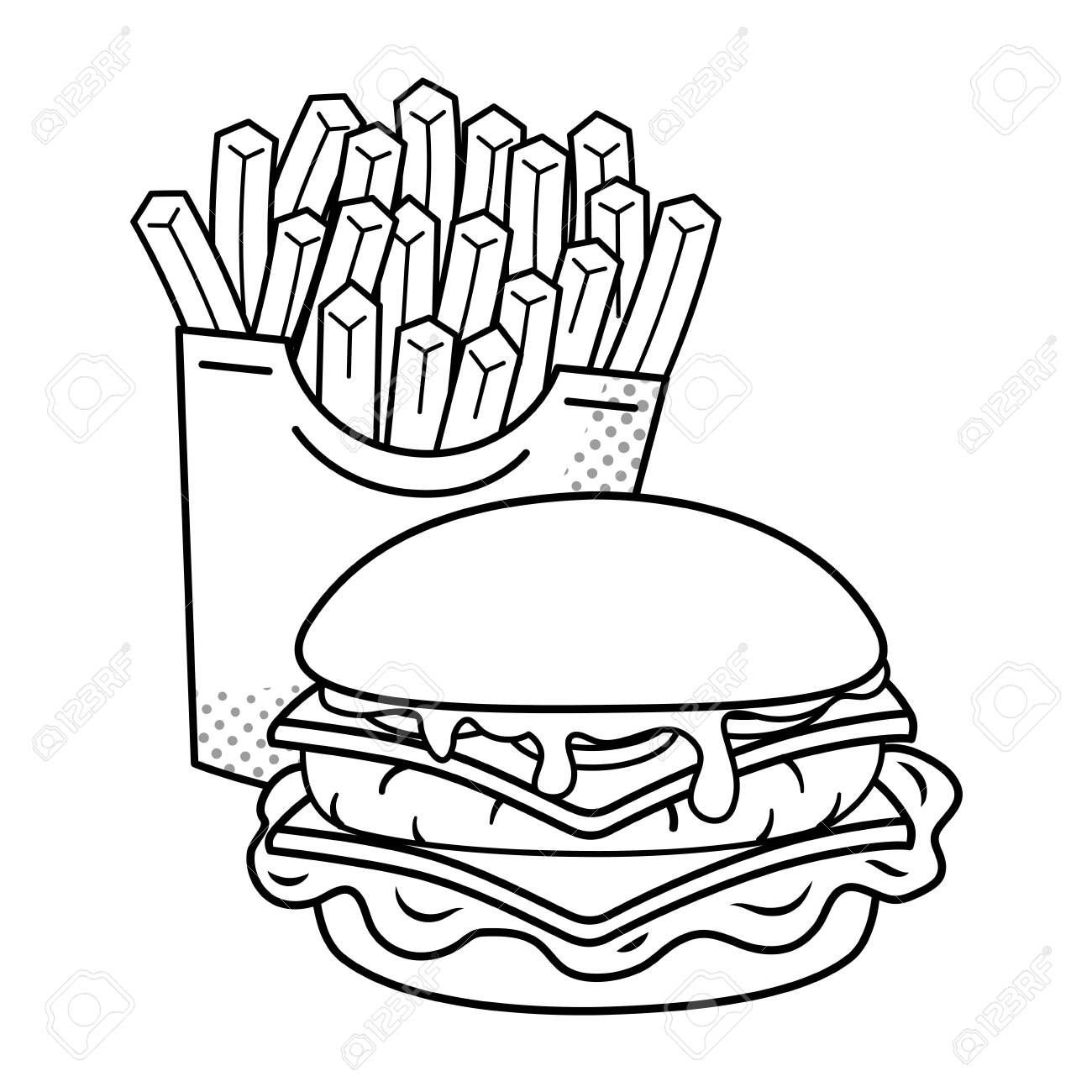 Hamburger Clipart Black And White In 2021 Clipart Black And White Black And White Cartoon Black And White