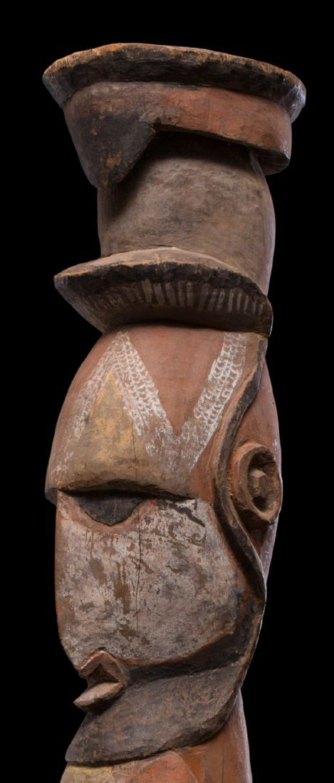 """Abelam male figure. Interestingly the male figure has a native Australian-appointed official """"tultul"""" hat. 1940/50s. 54 ¼"""""""