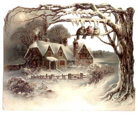 christmas landscape vintage cards for xmas and holidays. Black Bedroom Furniture Sets. Home Design Ideas