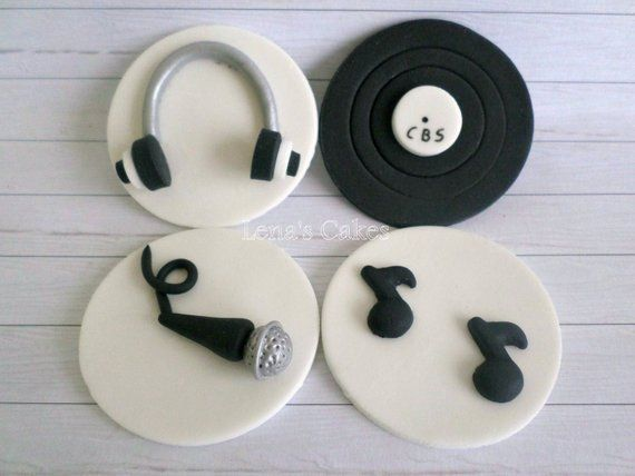 Music DJ Cupcake Edible Fondant Toppers 39b15b6db2