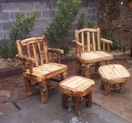 Log Patio Chairs And End Tables Foot Stools