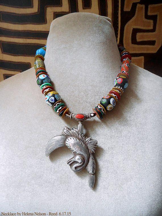Sterling Silver Heron, lux Venetian artisan millifiore beads