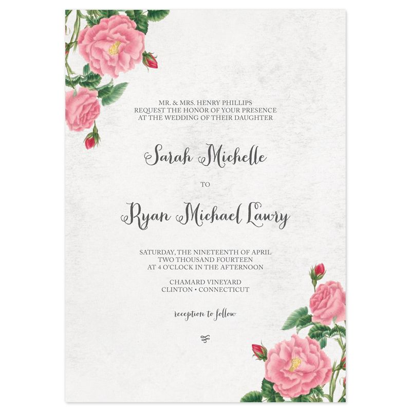 Budding Blooms Wedding Invitations Invitation wording Botanical