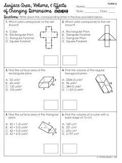 FREE Surface Area and Volume of Prisms Quiz | Education | Pinterest