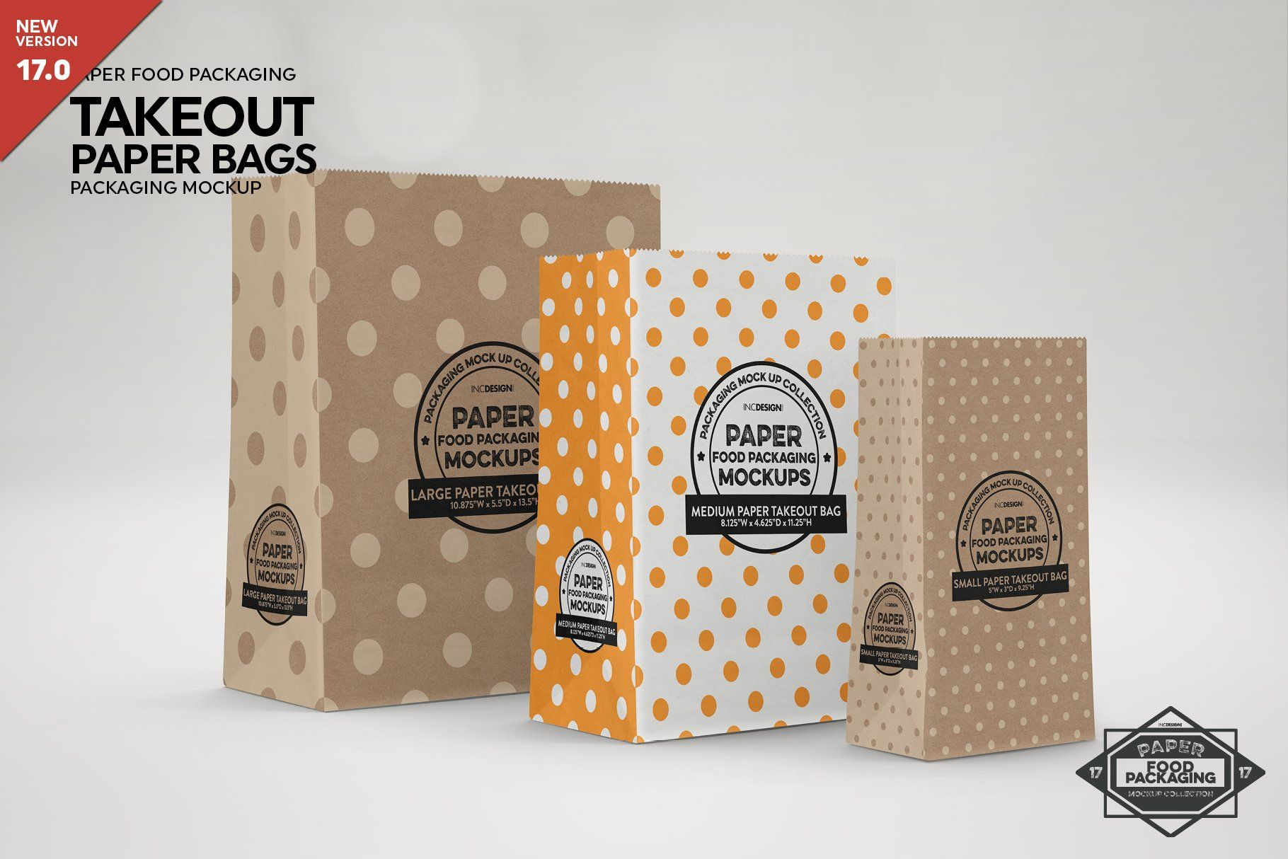 Download Paper Takeout Bags 3 Sizes Mockup Packaging Mockup Design Mockup Free Free Packaging Mockup