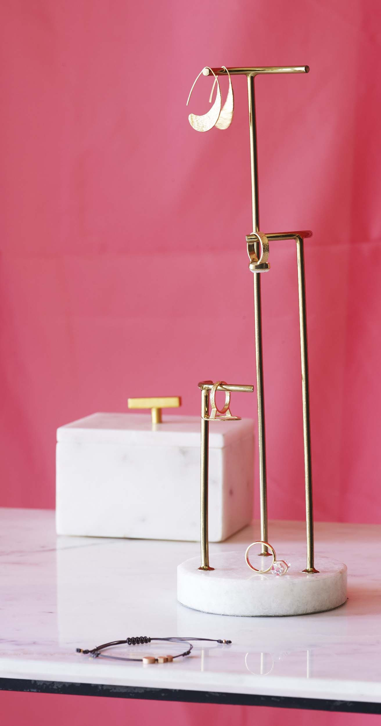 c2120af6e Form and function fuses beautifully in this minimalist Gold & Marble Three  Tier Round Jewellery Stand.