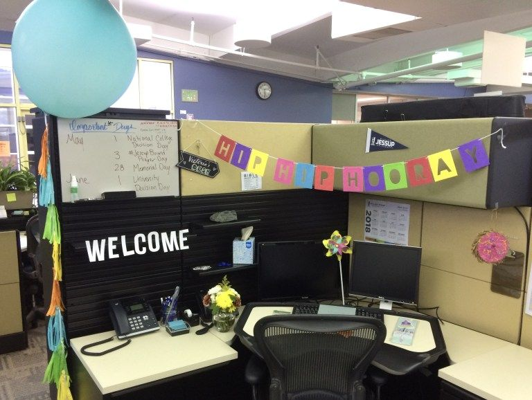 Desk Celebration Decorations That Are Way Too Fun For Work First Day Felt Banner And Giant Balloon Decor Coworker Birthday Gifts Desk